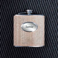 Personalised Wooden 6oz Hip Flask In Gift Box